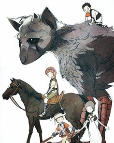An illustration of all of the characters from the ICO series including. Ico, Shadow of the Colossus, and The Last Guardian. Video Game Art, Video Games, Fanart, Fantasy Creatures, Game Character, Game Design, Illustration, Fantasy Art, Concept Art