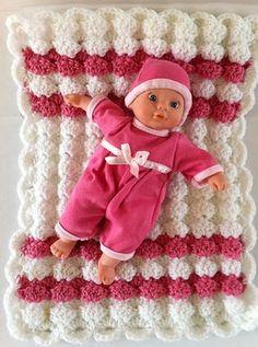 Crochet Baby Doll Puff Shell Afghan Skill / Level: Easy / Beginner  FREE
