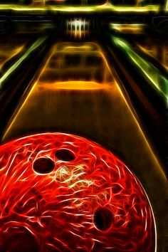 electric bowling ball down the lanes. Artwork