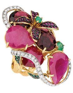 Multi Gemstone Diamond Flora Haute Ring by Goldesign