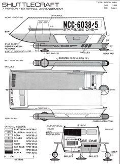 Schematic of Shuttle Craft from (TOS) U.S.S. Enterprise NCC-1701