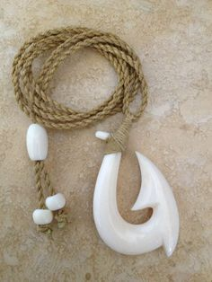 real hawaiian fish hook carved from cow bone for M and W.Comes With1Year W