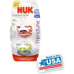 Nuk Trendline Orthodontic Pacifiers, 2ct (Colors May Vary)