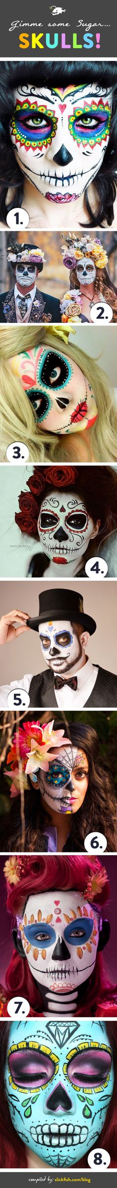 Sugar skull designs are a popular choice for adult face paint this Halloween. We love the look, so we gathered some of our favorites for your inspiration. | by slickfish.com #facepaintingideasforadults