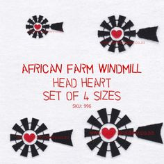 Farm Windmill Head Heart Middle machine embroidery design set of 4 sizes, also available in various file formats and as individual sizes. Windmill Art, Farm Windmill, Head And Heart, Design Set, Afrikaans, Machine Embroidery Designs, Vip, Cricut, Middle