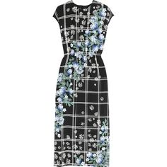 Mother of Pearl Kara printed silk-jersey midi dress (2.940 RON) ❤ liked on Polyvore featuring dresses, black, pattern dress, flower pattern dress, print midi dress, mid calf dresses and multi-color dress