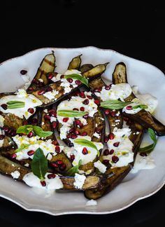 Nadia Lim's BBQ eggplant with lemon, mint yoghurt, feta and pomegranate #recipe is online now. ACx