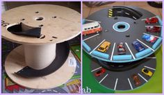 DIY Wood Cable Reel Race Car Track Tutorial: make car track out of wood spool or cable reel for kids, sliding down car track