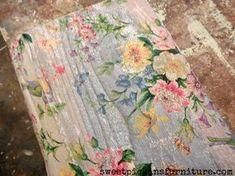 Sweet Pickins - napkins on wood floral decoupage Decoupage Wood, Napkin Decoupage, Decoupage Furniture, Painted Furniture, Diy Furniture, Modge Podge Wood, Furniture Design, Decoupage Tissue Paper, Decoupage Tutorial