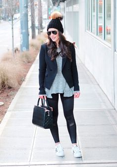 Athleisure outfit.  Alo Yoga moto leggings, Adidas Superstars, Ruffle hem tee, jersey blazer, pom pom beanie, and black Ray-Ban aviators. Casual Weekend Outfit, Lazy Day Outfits, Outfit Of The Day, Casual Outfits, Athleisure Trend, Athleisure Outfits, Black Ray Ban Aviators, Beanie Outfit, Adidas Superstar