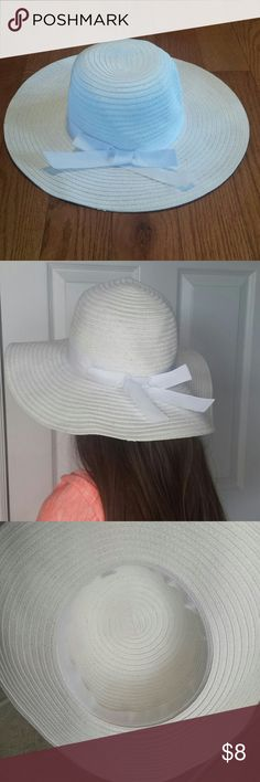Girls/Teen Hat - perfect for Easter! Girls/Teen White Hat; Perfect for Easter or any Spring/Summer Day; One Size; White Ribbon accent Accessories Hats