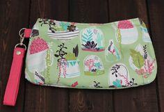 Zipper Clutch Succulent Print Small purse by TheAmberRoseEmporium