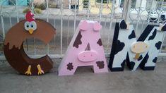 Letras decorativas grandes tema granja!! Farm Animal Birthday, Farm Birthday, Birthday Crafts, Girl First Birthday, Birthday Party Themes, Party Frame, Birthday Letters, Happy Party, Farm Party