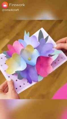 Mothers Day Quotes Discover DIY - Pop Up Card Tutorial to make your own Pop Up Card! Diy Crafts Hacks, Diy Crafts For Gifts, Diy Arts And Crafts, Creative Crafts, Card Crafts, Creative Food, Paper Flowers Craft, Paper Crafts Origami, Paper Crafts For Kids