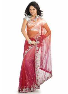 Charismatic Pink Net Saree for brides maids