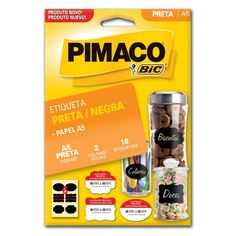 Foto 1 - Etiqueta adesiva p/Sortidas codificação 50x65mm preta 3fls c/6estiquetas - Pimaco