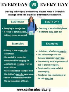 Everyday vs Every Day! Every day and everyday are commonly misused words in the English language. This lesson shows the difference between every day vs everyd English Learning Spoken, Learn English Grammar, English Writing Skills, English Idioms, English Language Learning, English Phrases, Learn English Words, English Lessons, Teaching English