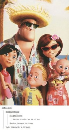 The Incredibles taking a vacation picture