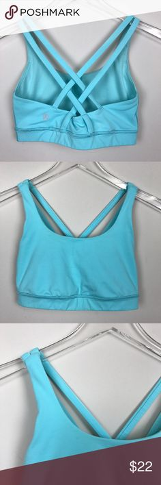 [Lululemon] Energy Bra Strappy Back Blue Moon Yoga Lululemon Energy Bra. Strappy back. Blue Moon color. Inner tag removed. Size dot in lining.  🔹Condition: Good pre-owned condition. Does have some slight discoloration around some edges. Mainly where straps connect to front. See photos.  *LL3 lululemon athletica Intimates & Sleepwear Bras