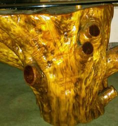Handcrafted Cedar Stump Glass Top Coffee Table Lodge Log Cabin Office Accent  #Country