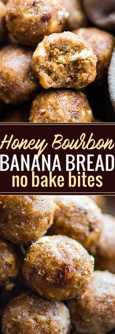 """These Honey Bourbon Banana Bread bites make a delicious quick no bake dessert! A gluten free Bourbon Banana bread bites recipe with a little """"spike"""" and seasonal spices. Whip them up for a holiday dessert or tasty snack ready in no time. Dairy free and non alcoholic Vegan option. @cottercrunch"""
