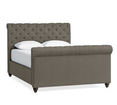 Chesterfield Upholstered King Bed with Tall Footboard, Polyester Wrapped Cushions, Textured Basketweave Metal Gray at Pottery Barn Upholstered Full Bed, Tufted Bed, Memory Foam, Chesterfield Bed, Navy Bedding, Bedding Sets, Navy Headboard, Plywood Headboard, Queen Bedding