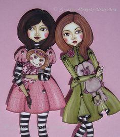 Hermanas-articulado muñeca de papel-hacer lo mismo