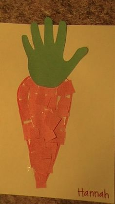From our garden unit - carrot handprint preschool art (munchkin junction prescho. From our garden Daycare Crafts, Classroom Crafts, Easter Crafts For Kids, Preschool Garden, Preschool Crafts, Toddler Art, Toddler Crafts, Spring Activities, Preschool Activities