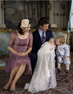 Crown Prince and Princess of Denmark with Christian and Isabella, at her christening, lovely christening photo.