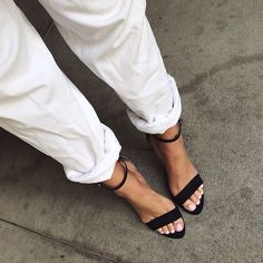 rolled jeans + ankle strap sandals
