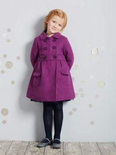 abrigo de paño de lana morado niña de vertbaudet
