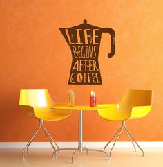 Wall Decal Sticker Bedroom life begins after coffee quote morning kitche decor idea 246b
