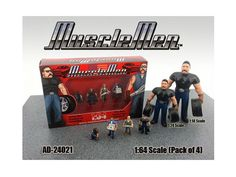 Musclemen 4pc Figure Set for 1:64 Diecast Model Cars by American Diorama