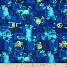 Disney Monster University Mike & Sully Toss Blue from @fabricdotcom  Licensed by Disney to Springs Creative Products, this cotton print is perfect for quilting, apparel and home décor accents. Colors include aqua, citrine, purple and blue. This is a licensed fabric and not for commercial use.