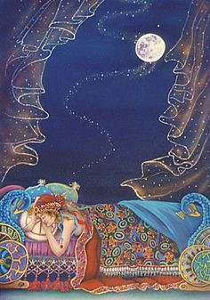 """Dream Messenger by Cathy McClelland """"...is about a magical event that takes place in everyone's life. The setting of this painting is in an exotic land, with rich beautiful blankets & embellished beds. Where the night is warm & intoxicating. The messenger comes to one out of the starry universe to enter one's dreams. The curtains flutter as the messenger descends. Each dreamer has an individual experience. Not all of the dreamers will remember dream. But it is always a magical experience."""""""