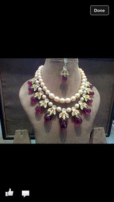 Large size cream color flawless south sea pearls two strings choker, bottom row embellished with round polki white kundans, pearls an. Ruby Jewelry, India Jewelry, Jewelry Sets, Beaded Jewelry, Diamond Jewelry, Jewelry Necklaces, Jewellery 2017, Vintage Necklaces, Pearl Necklaces
