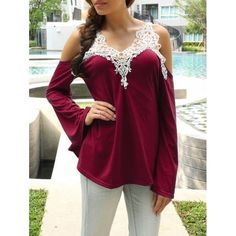 Cold Shoulder Lace Splicing Color Block T-Shirt