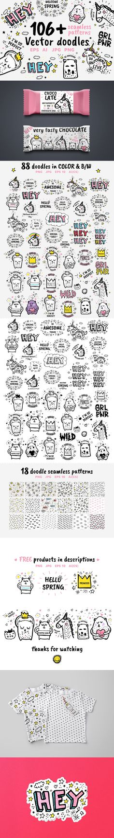 106+ vector doodles, patterns + #FREE by softulka on @creativemarket Editable with #Illustrator CS and newer, Corel Draw, #Photoshop Big set of #Vector cute #doodles #illustrations with text and #graphic #design elements, fancy fantasy animals. Trendy characters collections. This funny #clipart and #patterns is perfect for graphic design, cards, posters, #prints, #apparel, #packaging, #tshirts design and more!