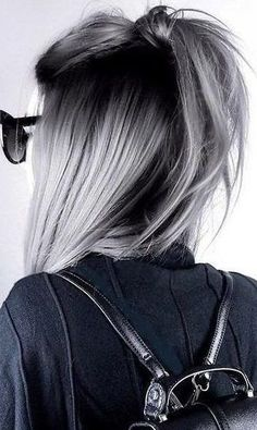 Silver gray ombre hair color ideas for short hair managed to supplant the burnin... Silver gray ombre hair color ideas for short hair managed to supplant the burnin... #burnin #Color #Gray #Hair #Ideas #managed #Ombre Pelo Color Gris, Pelo Color Plata, Silver Ombre Hair, Dyed Hair Purple, Grey Ombre Hair Short, Purple Grey Hair, Black And Silver Hair, Grey Hair Top Knot, Grey Hair Dye For Dark Hair