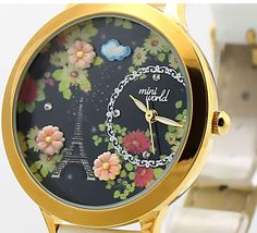 New Style Black Floral Eiffel Tower Watch