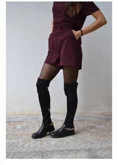 The 'berry colored' playsuit on 'Nansoumou'! Fashion Blogs, Playsuits, Bold Colors, Knee Boots, Berry, Outfits, Collection, Suits, Vivid Colors