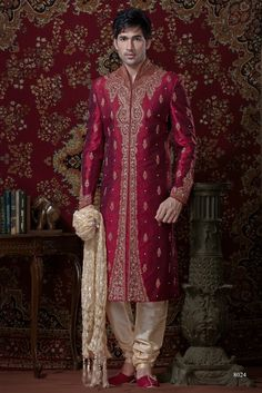 Sherwani For Men : Sherwani Designs, Designer, Groom & Wedding Sherwanis. We are Jugniji.com selling Indian wedding sherwanis online and on this page you can buy @ Shop online at http://jugniji.com/mens-collection/classic-sherwani-collection/classic-sherwani-2104.html