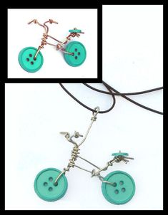 Wire & Button Bicycle MADE TO ORDER Pendant by PumpkinandParsnip