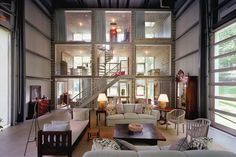 Shipping container home ideas and designs, open space and natural light with accommodations for guests!