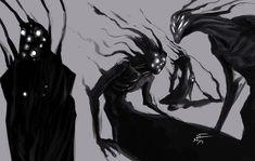Personification of depression Fantasy Character Design, Character Design Inspiration, Character Art, Shadow Creatures, Dark Creatures, Shadow Monster, Monster Art, Creature Concept Art, Creature Design