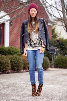 Quilted leather jacket and beanie  Balmain - esque top