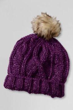 Womens Cashmere Cable Knit Hat - LXL - Grey Lands End aQj6iCMHmP