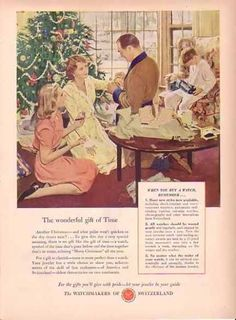 Swiss Federation of Watch Manufactures 1949 Christmas Ad - Gift of Time, General Corporation Company Ads Vintage Ephemera, Vintage Ads, Vintage Images, Vintage Prints, Retro Ads, Christmas Ad, Christmas Images, Vintage Christmas, Jewelry Ads