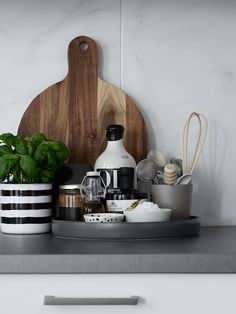 Home in sand and grey - via cocolapinedesign.com // kitchen vignette
