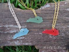 jewelry Kentucky or any state State love acrylic necklace Silhouette by ShilohValleyDesigns, $13.95